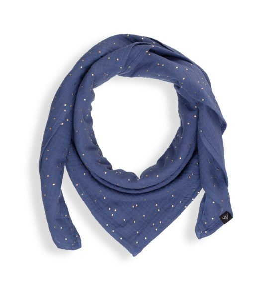 Mama's scarf wearing Ponchlin Blue scarf available at Nurture Collective