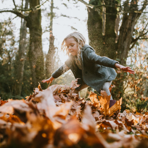 A cute little girl plays in a forest park, picking up handfuls of maple leaves to throw into the air. A beautiful sunny autumn day. Used on Nurture Collective Autumn Picks