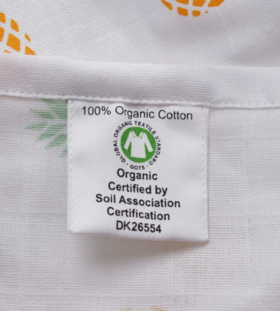 Pineapple Print Baby Swaddle GOTS label by Little Leaf Organic at Nurture Collective