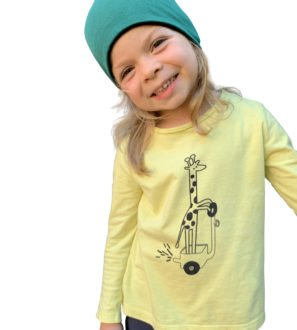 Reversible Beanie Hat and Yellow Gerald the Giraffe T-Shirt by Cooee Kids at Nurture Collective Eco Friendly Kids Fashion