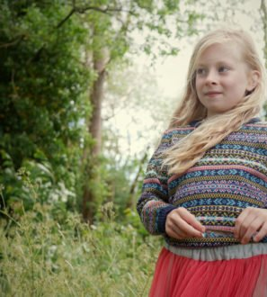 Little Girl Wearing Fairilse Jumper in Navy by Faraway Gang at Nurture Collective