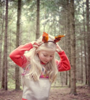 Little Girl Wearing Merino Pattern Jumper by Faraway Gang at Nurture Collective