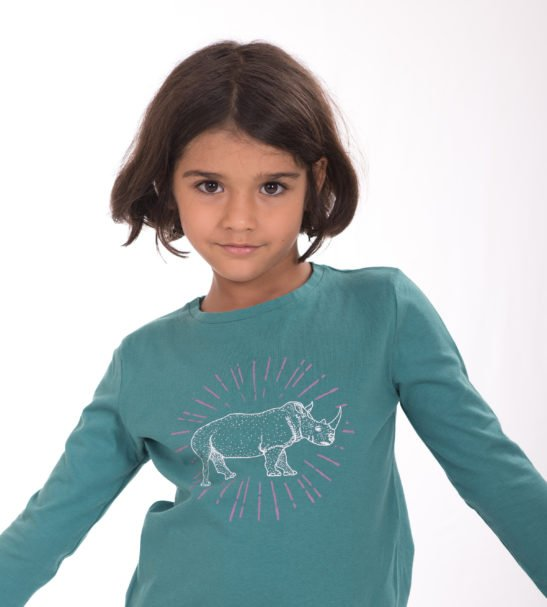Girl Wearing the Rhino Spark Unisex T-Shirt by Cooee Kids at Nurture Collective Eco Friendly Kids Fashion