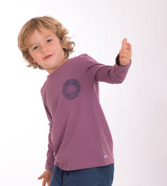 Boy Wearing London Lion Unisex T-Shirt by Cooee Kids at Nurture Collective Eco Friendly Kids Fashion