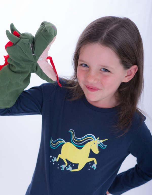 Girl Wearing Unique Unicorn T-Shirt by Cooee Kids at Nurture Collective Eco Friendly Kids Fashion