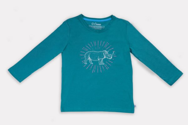 Rhino Spark Unisex T-Shirt by Cooee Kids at Nurture Collective Eco Friendly Kids Fashion