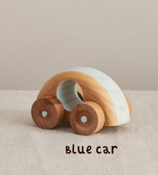 Blue Wooden Crafty Car by Handmade by Love Heartwood at Nurture Collective