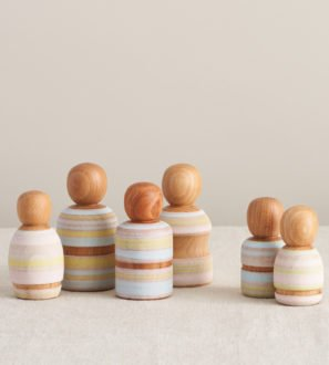 Set of Wooden Painted Peg Dolls by Love Heartwood at Nurture Collective