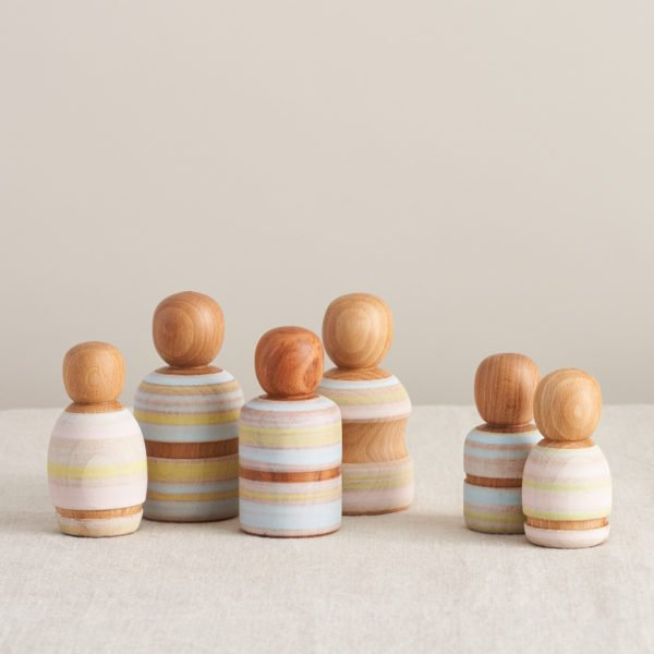 A Painted Family of Wooden Peg Dolls, Handmade by Love Heartwood at Nurture Collective