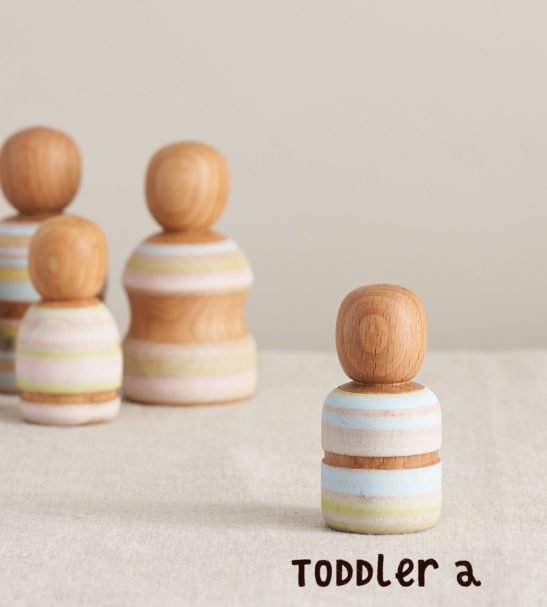 Wooden Peg Dolls Family of Dolls, Toddler A by Handmade by Love Heartwood at Nurture Collective