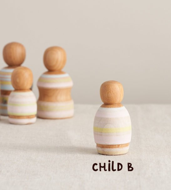 Wooden Peg Dolls Family of Dolls, Child B by Handmade by Love Heartwood at Nurture Collective