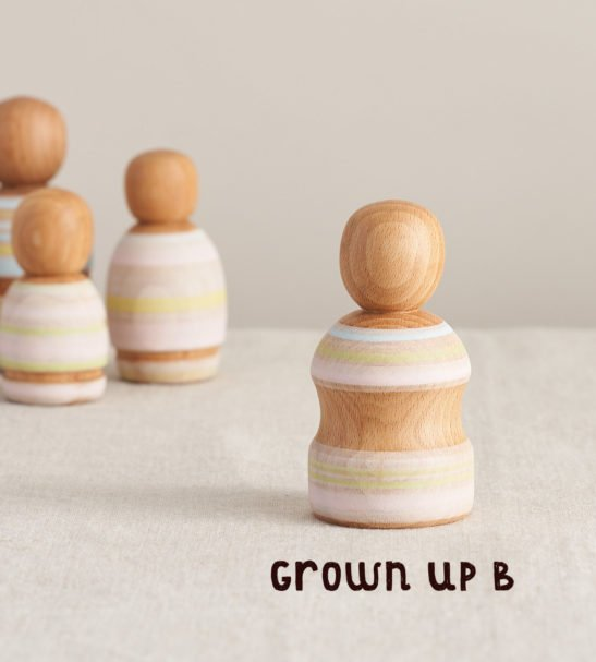 Wooden Peg Dolls Family of Dolls, Grown Up B by Handmade by Love Heartwood at Nurture Collective