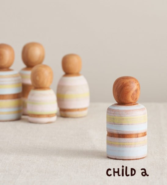 Wooden Peg Dolls Family of Dolls, Child A by Handmade by Love Heartwood at Nurture Collective