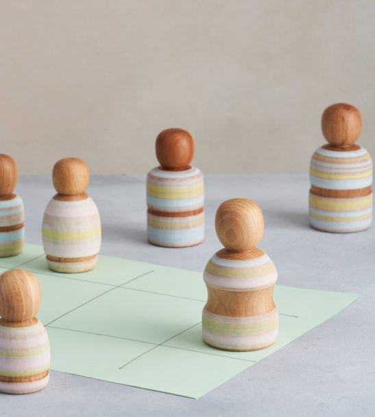 A Family of Wooden Peg Dolls, Handmade by Love Heartwood at Nurture Collective