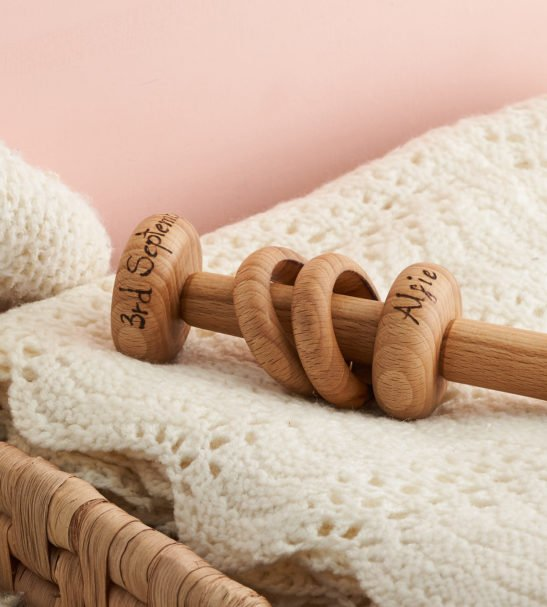 Wooden Baby Rattle by Love Heartwood at Nurture Collective