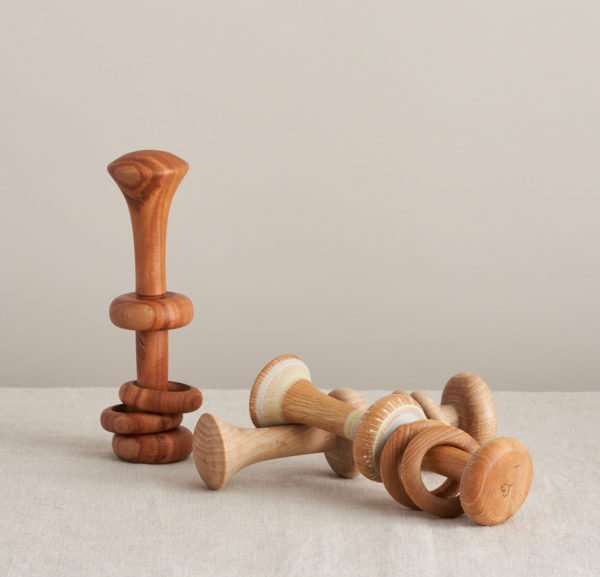 Three Wooden Baby Rattles by Love Heartwood at Nurture Collective