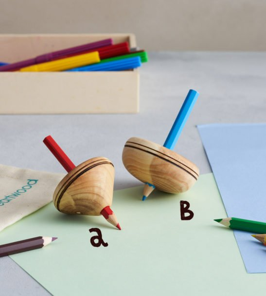 Two Wooden Spinning Pencil Tops by Love Heartwood at Nurture Collective