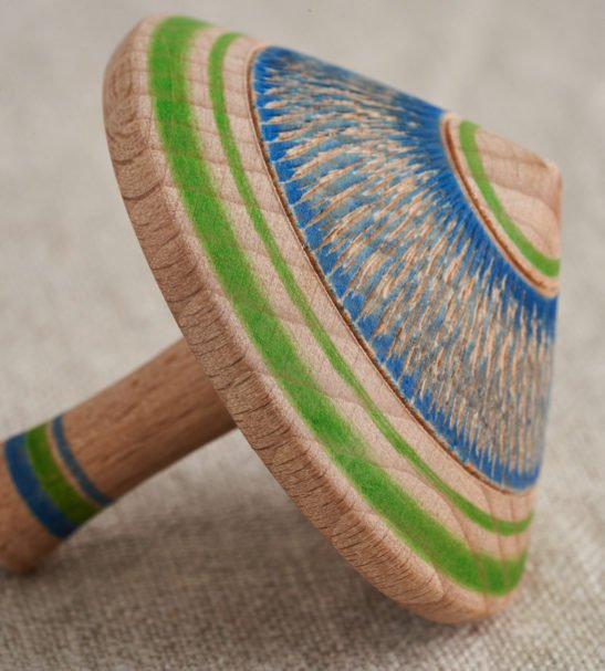 Single Wooden Spinning Top by Love Heartwood at Nurture Collective