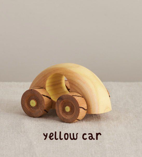 Yellow Wooden Car by Handmade by Love Heartwood at Nurture Collective
