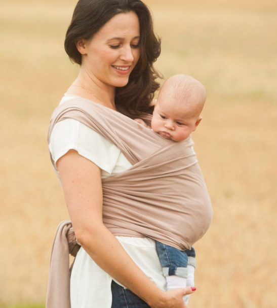 Mama Wearing the Mocha Cream Baby Carrier Wrap by Amawrap at Nurture Collective