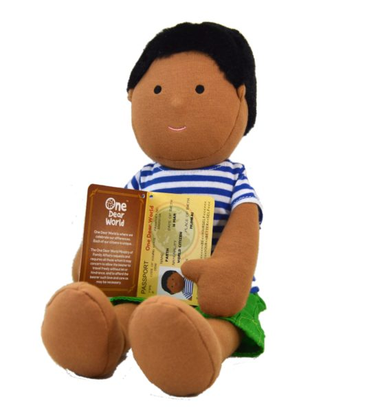 Positive Parth Soft Doll Holding his Passport by Dear One World into a Box at Nurture Collective