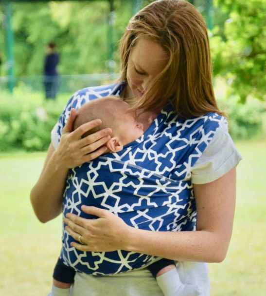 Mama Wearing the Moroccan Star Baby Carrier Wrap by Amawrap at Nurture Collective