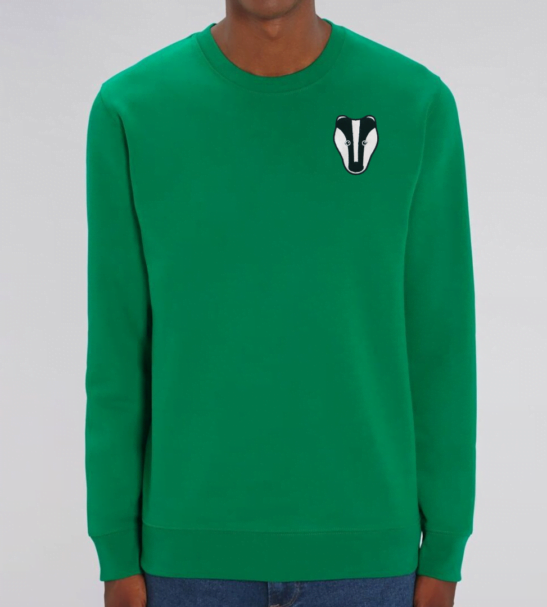 Organic Badger Adult Sweatshirt in Green by Tommy & Lottie at Nurture Collective