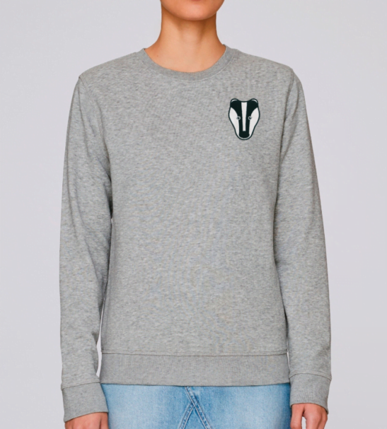 Organic Badger Adult Sweatshirt in Grey Marl by Tommy & Lottie at Nurture Collective