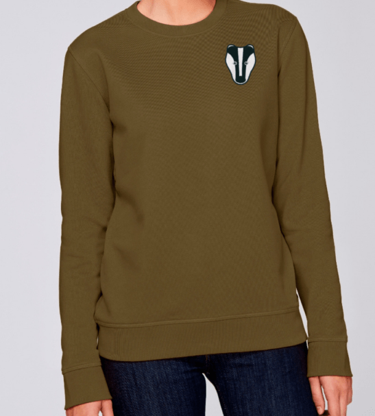 Organic Badger Adult Sweatshirt in Khaki by Tommy & Lottie at Nurture Collective