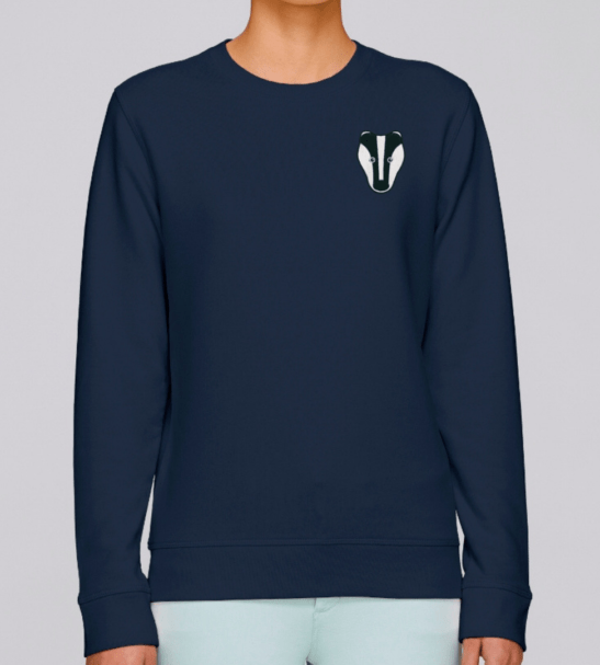 Organic Badger Adult Sweatshirt in Navy Blue by Tommy & Lottie at Nurture Collective