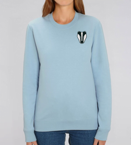 Organic Badger Adult Sweatshirt in Pale Blue by Tommy & Lottie at Nurture Collective