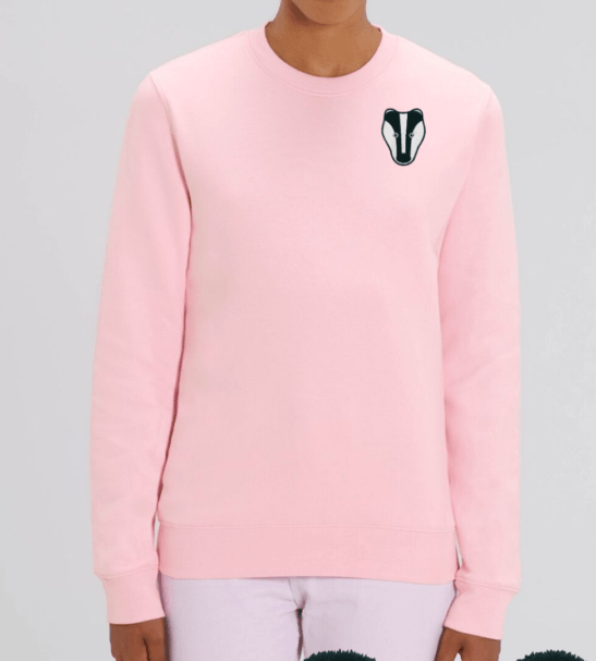 Organic Badger Adult Sweatshirt in Pink by Tommy & Lottie at Nurture Collective