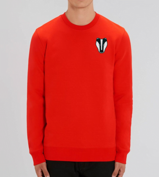 Organic Badger Adult Sweatshirt in Red by Tommy & Lottie at Nurture Collective