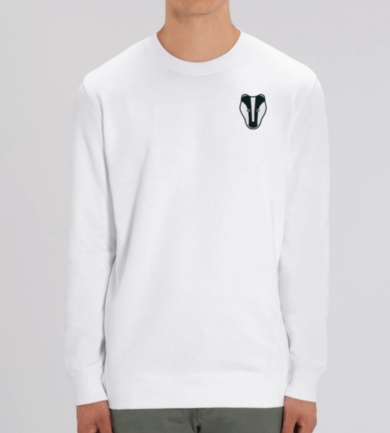 Organic Badger Adult Sweatshirt in White by Tommy & Lottie at Nurture Collective