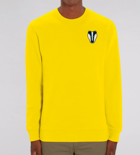 Organic Badger Adult Sweatshirt in Yellow by Tommy & Lottie at Nurture Collective