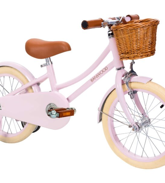 The Banwood Childs Vintage Bike in Classic Pink with Stabilisers now available at Nurture Collective
