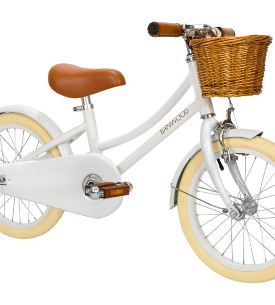 Banwood Classic White Push Bike with a basket & Bell perfect a for childs first bike now available at Nurture Collective