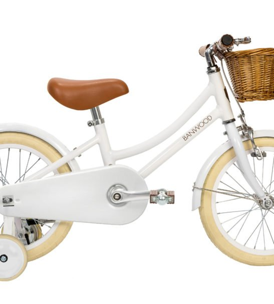 Banwood Classic White Push Bike with a basket & Bell perfect a for childrens first bike complete with stabilisers