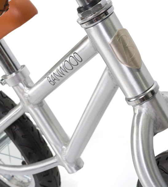 A Close up of the Banwood Balance Bike in Chrome now available at Nurture Collective