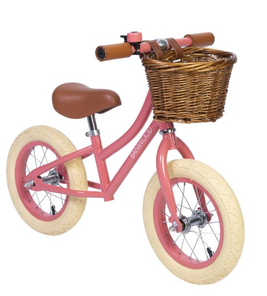 Banwood Balance Coral Bike with a basket & Bell perfect for childrens first bike now available at Nurture Collective