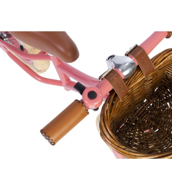 Close up of the Basket on the Banwood Balance Coral Bike a first childs bike now available at Nurture Collective