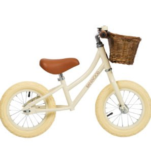 The Cream Banwood Balance Bike with Basket now available at Nurture Collective