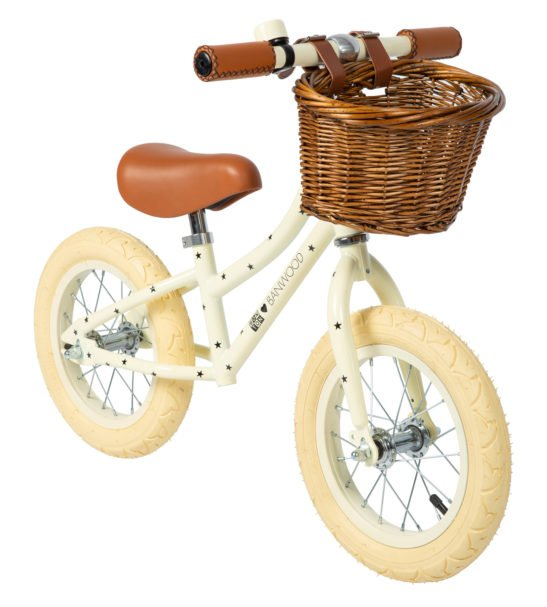 The Bonton Cream Banwood Balance Bike with Basket now available at Nurture Collective