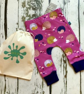 Hedgehog Baby and Toddler Leggings comes in a drawstring bag by Maebelle & Bo at Nurture Collective