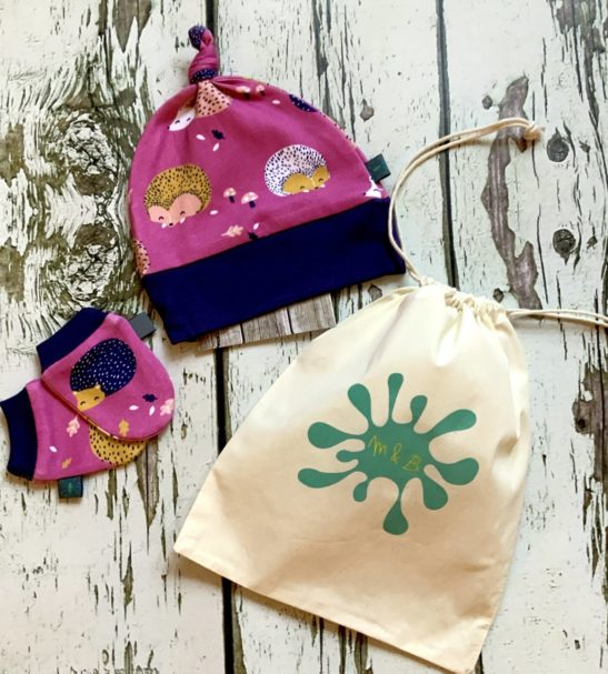 Hedgehog Baby Gift Set comes with Leggings matching hat and mitts in a drawstring bag by Maebelle & Bo at Nurture Collective