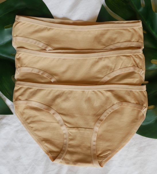 Women's organic cotton low-rise bikini - pack of 3 in Almond by You Underwear at Nurture Collective