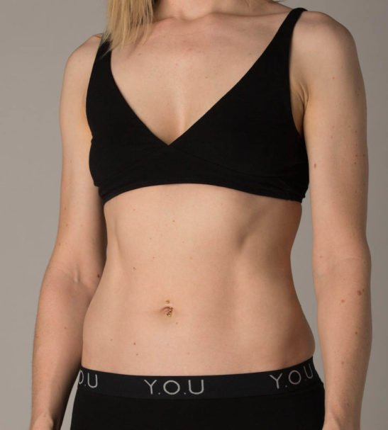 Woman Wearing the Black Cross Over Bralette & Tong Set Front View by YOU Underwear at Nurture Collective