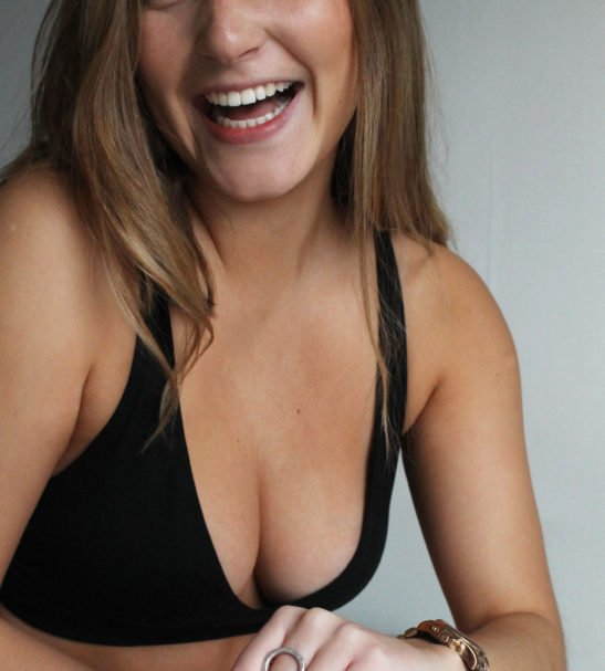 Woman Wearing the Black Cross Over Bralette Front view by YOU Underwear at Nurture Collective