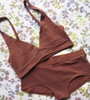 Chestnut matching organic cotton bra and boy shorts by YOU underwear at Nurture Collective