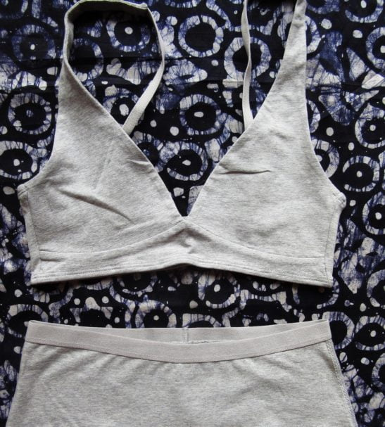 Grey matching organic cotton boy shorts set and bralette non wired by YOU underwear at Nurture Collective